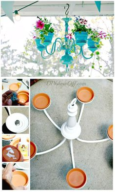 DIY Chandelier Planter Tutorial - 110 DIY Backyard Ideas to Try Out This Spring . Chandelier Planter, Diy Chandelier, Backyard Projects, Backyard Ideas, Backyard Chickens, Pergola Ideas, Landscaping Ideas, Backyard Landscaping, Summer Diy