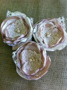 Set of 3 Satin and Lace Flower Appliques/ Ivory & Champagne/ Bridal Flowers/ Hair Flowers/ Embellishments/ Wedding Decorations/ Bridal Sash Cloth Flowers, Satin Flowers, Felt Flowers, Diy Flowers, Fabric Flowers, Fabric Flower Headbands, Flores Shabby Chic, Shabby Chic Flowers, Fabric Flower Tutorial