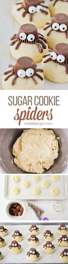 These sugar cookie spiders are so adorable, and so easy to make! Theyre the perfect treat to make with the kids for Halloween! Holiday Cookie Recipes, Holiday Cookies, Holiday Desserts, Holiday Baking, Holiday Decorations, Holiday Ideas, Baking Recipes, Dessert Recipes, Pie Recipes
