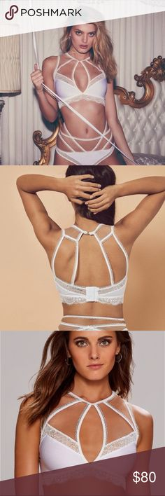 Sale🎉 nwt for love and lemons yvette bondage bra White with nude mesh. Ribbed material. Price firm For Love and Lemons Intimates & Sleepwear Bras