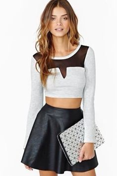 Grey Crop Top and High Waisted Skirt Black