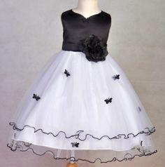 Flower Girl Dresses For Weddings BLACK AND WHITE   Flower Girl Dress Butterfly White Pink Red Ivory More   eBay