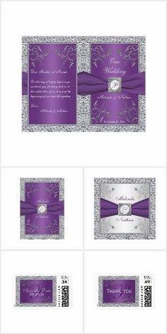 Purple Silver FAUX Foil Printed Ribbon This elegant wedding invitation suite is … – 2019 - Lace Diy Grey Wedding Theme, Purple And Silver Wedding, Wedding Themes, Wedding Colors, Silver Flowers, Wedding Dresses, Wedding Flowers, Purple Color Schemes, Purple Themes