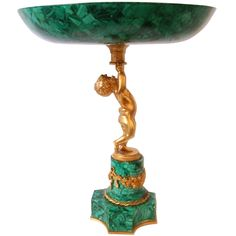 Dore Bronze and Malachite Veneer Compote Century in the French Style. Islamic Tiles, Vintage Tableware, Bronze, Granite Stone, House Ornaments, Architectural Elements, French Antiques, Beautiful Flowers, Centerpieces