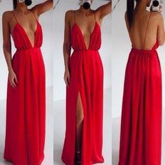 Deep V Neck Spaghetti Strap Sleeveless Backless Front Split Red Dress