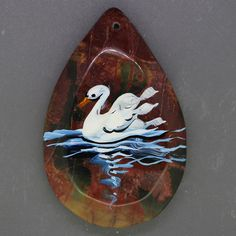 Hand Painted swan Necklace Pendant   Natural Gemstone   ZL806978 #ZL #Pendant