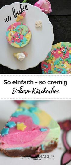 So einfach geht der bunte Einhorn Käsekuchen und das ganz ohne Backen. Wie genau erzähle ich auf dem Blog. Der Boden ist ein Keksboden und die Masse besteht aus Frischkäse. Ob Ihr ihn nun Regenbogenkuchen oder Einhornkuchen nennt, er schmeckt einfach super. #einhorn #käsekuchen #nobake #cheesecake