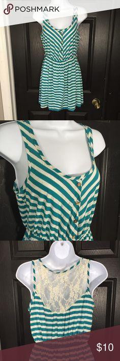 Pearl Green and Gray Stripped Dress Size L , Pearl Dresses Midi