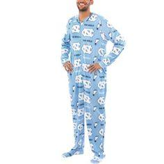 Mens North Carolina Tar Heels Blue Ramble One-Piece ''Mansie'' Footie Pajama Suit