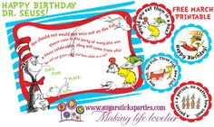 Have a Seussastical party! March #free printable from Sugarsticks Parties. FOR PERSONAL USE ONLY