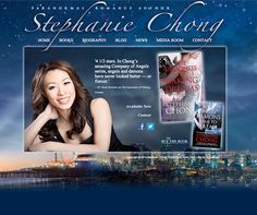 """Author Stephanie Chong requested a site that complemented her paranormal romance novels. AuthorBytes accomplished this by creating a dreamlike background that combines L.A. and Santa Monica skylines with a custom night sky created from multiple images and lighting effects. The transparent body of the site, with Stephanie's author photo, book jacket, and text """"floats"""" on the background, further adding to the surreal quality of the site. Visit the site: http://stephaniechong.com"""