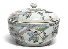 Chinese famille-rose circular tureen and cover, Qing dynasty, 18th century.