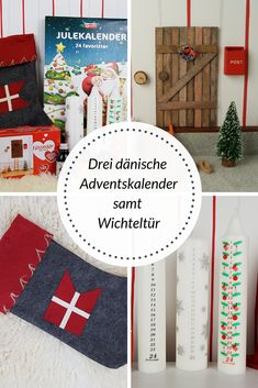 Three Danish Advent calendars with an elf door Elf Door, An Elf, Needful Things, How To Introduce Yourself, Danish, Third, Xmas, Advent Calendars, Candles