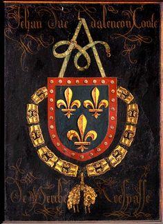 Golden Fleece Order stallplate of 40. Jean II, Duc d'Alençon (1409-1476), Kathedraal Sint-Salvator Brugge, by Pierre Coustain, 1478.