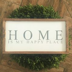 HOME is my happy place sign with custom colors: 12x22x1.5 Pictured item is shown with White Background, Gray Lettering and Walnut frame. This item is handmade right on the farm here in Idaho. Full of that farmhouse chic, Fixer-Upper style that were all craving. Customize your wood sign with your choice of lettering color and frame stain options. Perfect for any room of the house! Here at Huckleberry Avenue our made-to-order signs are made of real wood and hand painted, followed by a…