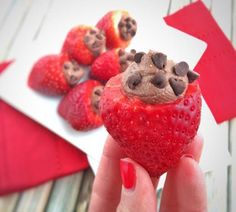 Indulgent Strawberry Desserts that Still Count as Healthy via @shapemagazine. My Chocolate Mousse Filled Strawberries featured- @LaurenPincusRD Recipe at www.NutritionStarringYOU.com