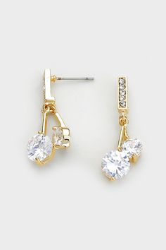 Solitaire Averly Earrings in Gold on Emma Stine Limited
