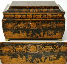 """Rare Antique Georgian Era 9"""" Penwork Sewing or Work Box, Chinoiserie from antiques-uncommon-treasure on Ruby Lane"""