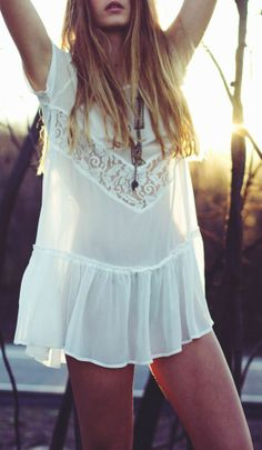 Lace detail white mini boho chic dress