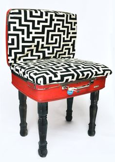 Upcycled Vintage Suitcase Chair Black and by LindseyDanielsDesign Repurposed Items, Upcycled Vintage, Repurposed Furniture, Do It Yourself Furniture, My Furniture, Furniture Design, Suitcase Chair, Metal Chairs, Black Chairs