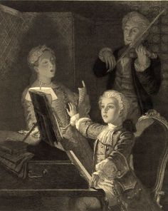 Nannerl, Leopold, and Wolfgang Amadeus Mozart by Victor Louis Focillon