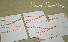 wedding stationery handmade - Heart Bunting - wedding bunting invitation design - wedding invites, evening invitations, order of service, menus Heart Wedding Invitations, Wedding Invitation Design, Wedding Stationary, Personalised Bunting, Wedding Bunting, Garden Party Wedding, Stationery Design, Thank You Cards, Deco