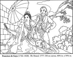 Color Your Own Spanish Masters Paintings - Francisco de Goya - The Parasol - 1777 - coloring page Cool Coloring Pages, Adult Coloring Pages, Coloring Books, Spanish Art, Famous Artwork, Classic Paintings, Thinking Day, Copics, Famous Artists