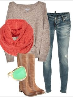 Perfect casual outfit with a pop of color