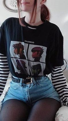 Aesthetic Grunge, Aesthetic Clothes, Grunge Outfits, Fashion Outfits, Brooklyn Baby, All Black Everything, Gorillaz, Alternative Outfits, Kawaii Fashion
