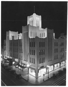 """losangelespast: """"The Art Deco towers of the Wise Building at night, 1932. This Long Beach landmark was located at Broadway and Pine. It was demolished in 1963. """" One of the great shames of Los Angeles..."""