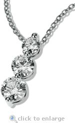 The Ziamond cubic zirconia Post Set Three Stone Anniversary Pendant features a .50 carat, a .75 carat and a 1 carat round cz in a 14k white gold setting.  $395 #ziamond #cubiczirconia #cz #pendant #threestonependant