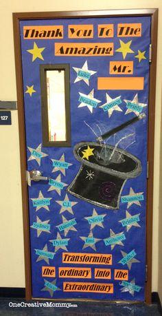 25 Teacher Appreciation Door Ideas from OneCreativeMommy.com {Our Teacher Turns Ordinary into Extraordinary--Magic Theme}