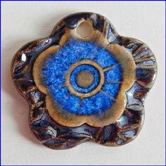 """Stoneware Pendant """" Blue-platinum """""""
