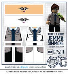 Agents of Shield Jemma Simmons custom lego minifigure decals