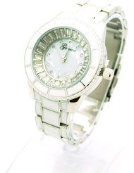 Geneva Womens Ceramic Tile Stainless Steel Band Pearl Face Wrist Watch Silver by Geneva $21.95