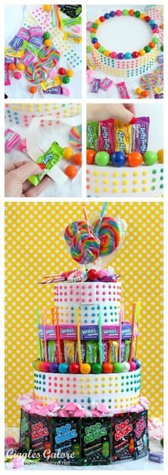 The easiest no bake birthday cake you will ever make. This colorful Candy Cake is great for any occasion and makes a great candy buffet and centerpiece too.