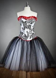 Custom size damask red and black tulle burlesque by Glamtastik