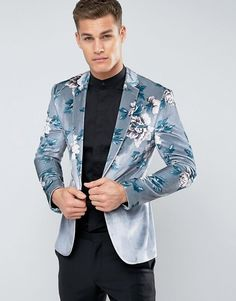 Buy ASOS Super Skinny Blazer In Velvet With Floral Print at ASOS. With free delivery and return options (Ts&Cs apply), online shopping has never been so easy. Get the latest trends with ASOS now. Tall Men Fashion, Mens Fashion Suits, Mens Suits, Tailored Fashion, Androgynous Fashion, Style Costume Homme, Asos Men, Balmain Men, Latest Fashion Clothes