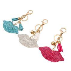 ** Lèvres porte clés avec strass ** Porte clés girly disponible en 3 couleurs: turquoise, rouge, blanc.
