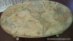 World map coffee table