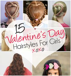 Every holiday my mother would come up with a fun hairstyle themed for that holiday before I would head off to class. Valentine's Day was always my favorite because I loved the heart styles, preferably the french braid ones! My daughter's only one so I have a while till we can do any of these …