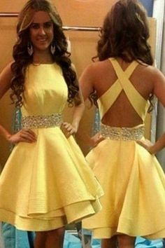 Outlet Outstanding Short Wedding Dress Open Back Yellow Tiered Homecoming Dresses Short Prom Dress Party Gowns Hoco Dress Yellow Homecoming Dresses, Yellow Party Dresses, Hoco Dresses, Prom Party Dresses, Dresses For Teens, Yellow Dress, Wedding Dresses, Dress Party, Summer Dresses