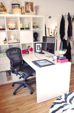 Get to Work In Style--Megan's Home Office Tour / Suzy q, better decorating bible, blog, ideas, Meagan, home office, tour, shabby chic, electric, white, walls, pink, work, black, glossy, lacquered, storage boxes, office chair, antique, dresser, tassels, pai (3)