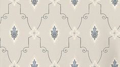 Liljesal (090-01) - Duro Wallpapers - A stylised trellis with a central feather motif shown in various shades of blue. Please request a sample for a true colour match.