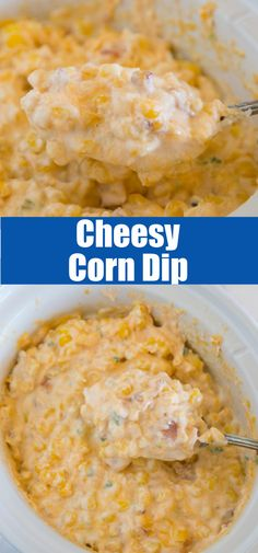 Cheesy Corn Dip - a delicious hot dip with jalapeno, corn, bacon, and plenty of cheese! Comes together in minutes, and perfect for snacking or entertaining!