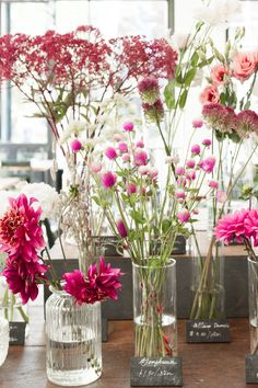 Shades of pink on offer: globe amaranth, dahlias, and alliums. Exotic Flowers, Diy Flowers, Purple Flowers, Flower Decorations, Flowers Garden, Flower Bar, Cactus Flower, Flower Shops, September Flowers