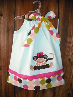 Sock Monkie Pillowcase Dress by MyDaughtersShop on Etsy, 28.00