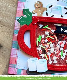 Xmas Cards, Holiday Cards, Cards Diy, Scrapbooking, Scrapbook Cards, Lawn Fawn Blog, Lawn Fawn Stamps, Coffee Cards, Handmade Gift Tags
