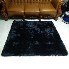 Faux Mats Washable Square Rugs Faux Fur Sheepskin Area Rug Baby Nursery Bedroom Home Decor Shaggy Carpet Fluffy Rug-Black Dark Carpet, Beige Carpet, Patterned Carpet, Modern Carpet, Hallway Carpet Runners, Cheap Carpet Runners, Carpet Stairs, Carpet Tiles, Rugs On Carpet
