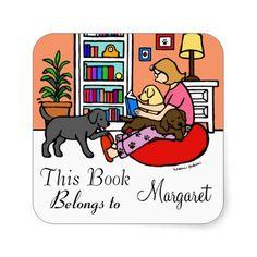 Labrador Mom Reading Book Label Stickers for book lovers!  #labrador #labradorretriever #booklabel #dog